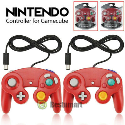 2 X Red Wired Controller for Nintendo GameCube GC & Wii Console CLASSIC JOYPAD