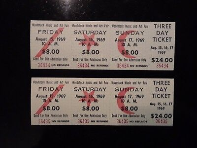 Original Woodstock Festival 1969 3 Day Tickets (2) Untorn Consecutive #'s