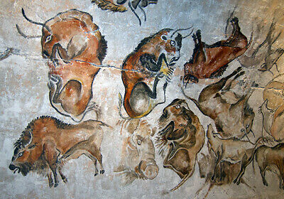 30,000 Yr Old Cave Painting Prehistoric Animals Art Tribal Canvas Print A4