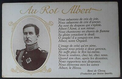 "SCARCE c.1910 Belgium Postcard ""To King Albert ""Unused"