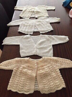 Hand knitted baby cardigans X 4 Beautiful, Made By Italian Nona - 100%Aus Wool