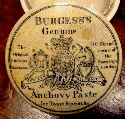 RARE Orginal Antique Burgess's Anchovy Paste Ceramic Jar England c1880 Crock