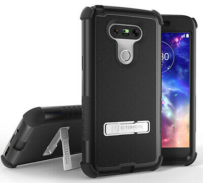 Black Rugged Tri-Shield Rubber Grip Skin Hard Case Cover Metal Stand For Lg G5