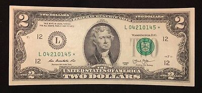 Rare Two Dollar Bill Star Note 2013 San Francisco $2 United States - Free Ship