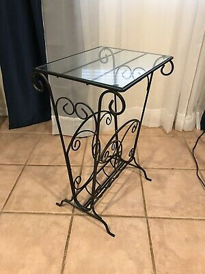 Wrought Iron Glass Top Table 22 00 Picclick