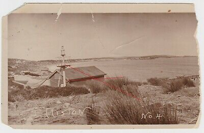 Early photo View Elliston Bay South Australia incl ship lead light & jetty c1900