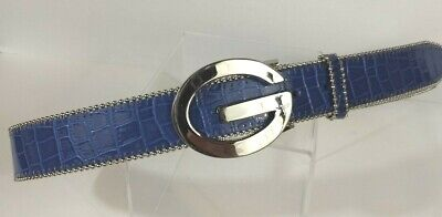 23a67829c90a98 GUESS Belt Women s Genuine Leather Bright Blue Large Logo Silver Buckle  Size L