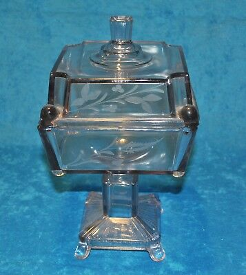 EAPG Victorian Etched Glass Compote, 1900s, Light Lavender