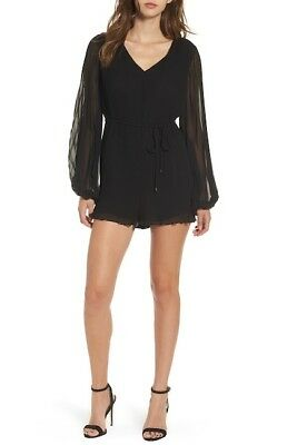 0810524c8d19 ASTR THE LABEL Romper Medium Black Alicia Cold Shoulder Lace Nwt ...