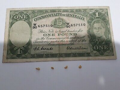 4 BEAUTIFUL GOLD NUGGETS .39 Gram (Natural Australian Old Gold) + Old Banknote