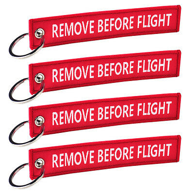 Remove Before Flight Key Chain Luggage Tag Zipper Woven Keychain Embroidery 5PCS