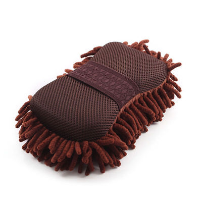 1x Microfiber Auto Car Vehicle Care Washing Brush Sponge Pad Cleaning Tool Brown