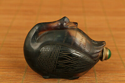 antique unique chinese glaze hand carving swan snuff bottle noble gift