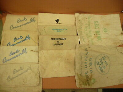10 Old Bank Bags all different ...  money/coin various banks