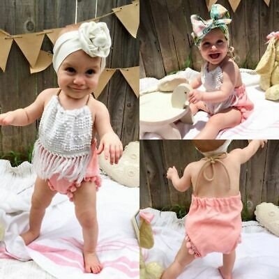 Clothes Outfits Baby Tassels Jumpsuit Ruffle  Sunsuit Strap Romper Sleeveless