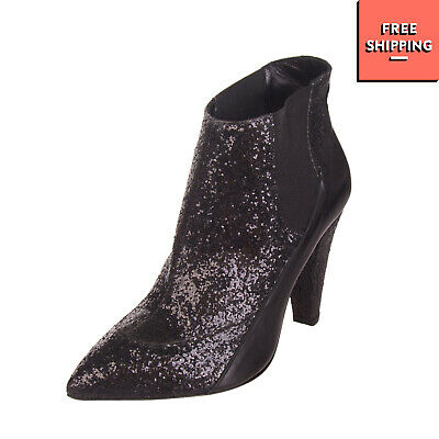 605b65e5825 NEVER EVER Leather High Heel Booties Size 37 UK 4 Glitter Pull On Made in  Italy