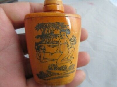 Chinese master Hand-painted Characters the story Cattle Bone snuff bottle W05