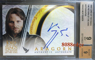 2003 Lord Of The Rings Return Of King Auto: Viggo Mortensen-Autograph Bgs 9 Mint