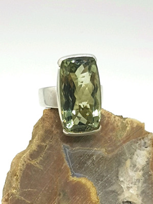 Green Amethyst Ring, Rectangle Shape, Size N, Sterling Silver 💚
