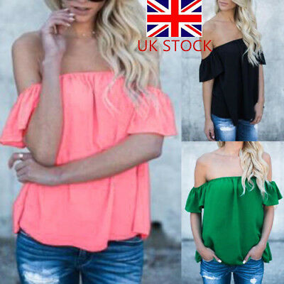 UK Womens Chiffon Off Shoulder Tops Ladies Summer Casual T Shirt Blouse New