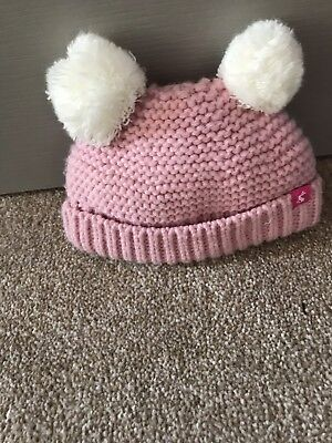 Joules Girls Knitted Pink Rose Hat Age 0-6 Months