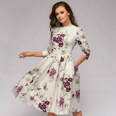Women Spring Elegant Floral Printed Seven-point Sleeve A Line Maxi Dress B