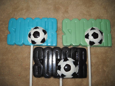 1 Chocolate LARGE Soccer Word w/ Ball Sports Male Player Lollipops Lollipop