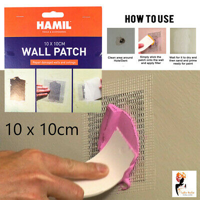 Self adhesive Wall Patch Stick Mesh Dry Repair Walls Ceiling Plastering 10x10 cm