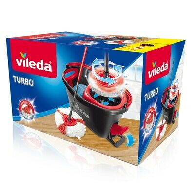 Vileda Microfibre Rotary Mop Turbo Easy Wring And Clean with Bucket Set UK Stock