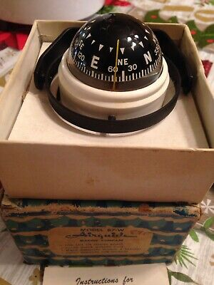 Vintage Model 87-W Airguide Marine Fluid Filled Dash Mounted Compass With Box Nm