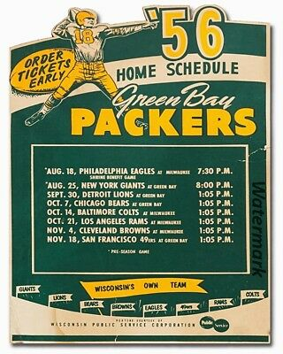 NFL 1956 Green Bay Packers Home Schedule Repint 8 X 10 Photo Picture