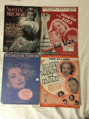 Lot 17 pcs movie sheet music -  2 Joan Crawford, 1931 Norma Shearer, Lana, Gable