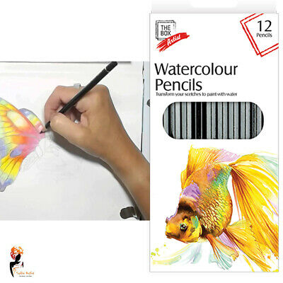 12 Water Colour Pencils Bold Bright  Painting Drawing Sketching Colour Paint Art