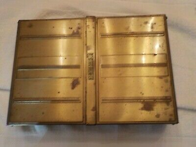 Vintage Metal And Wooden Box Grren And Gold
