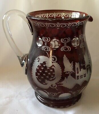 "Egermann Bohemian Ruby Glass Pitcher Etched 8"" Vintage"