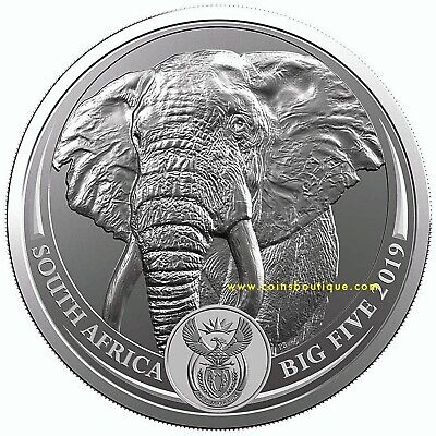 ELEPHANT BIG FIVE 1oz Silver Coin South Africa with COA and Blister 2019