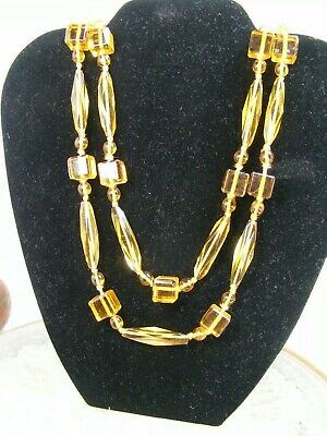 "Czech Art Deco Long Flapper Faceted Amber Crystal Glass Bead 54"" Necklace"