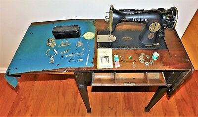 Vtg Singer 15-91 Sewing Machine in Cabinet 40 Instructions Manual  Attachments