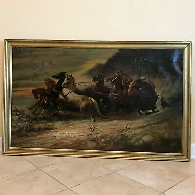 Antique 19th C Russian School Winter Horse Troika Scene Oil on Canvas Painting