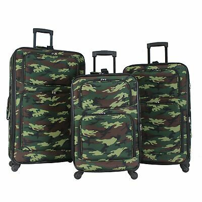 1ea63e39a0 World Traveler Camouflage 3-piece Rolling Expandable Spinner Luggage Set