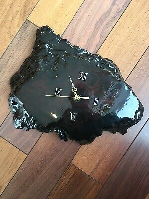 Vintage Redwood Burl Wood Slice Slab Live Edge Handmade Lacquered Wall Clock