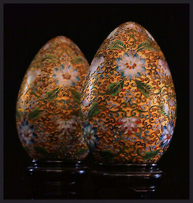 A Pair Of 20th Cen. Chinese Medium Sized Bronze/Brass Gilt Cloisonne Eggs, 17 H.