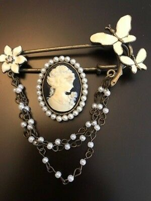 Vintage Brass Black & White Cameo - Pearls/Enamel Butterfly Safety Pin/Brooch