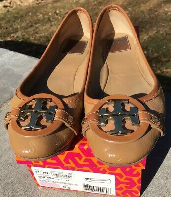c049f225321 TORY BURCH  AADEN  Ballet Flat  Sand  Beige Tumbled Patent Leather Gold Logo