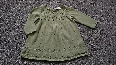 9bc6dc411f6 Baby Girls Clothes NEXT Olive Green Knitted DRESS Age 3-6 Months