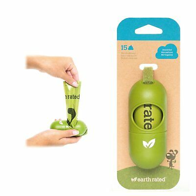 Earth Rated Bag Dispenser for Dog Leads With 15 Biodegradable Unscented Poo Bags