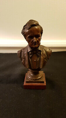 Antique Richard Wagner Bust Statue Signed [Pablo] Rigual [French, 1863–1917]
