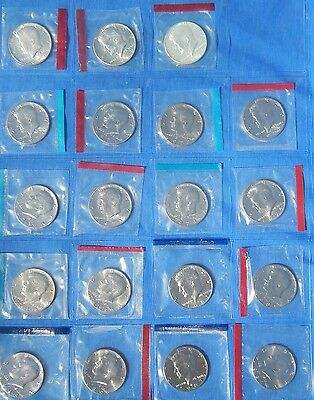 21 BU Mint Cello 1968 1969 1970 1971-1978 86 87 Kennedy Half Dollar lot silver