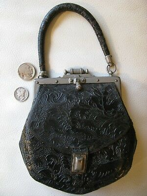 Antique Victorian Chinese Winged Lion Dragon Horse Embossed Leather Purse 1900