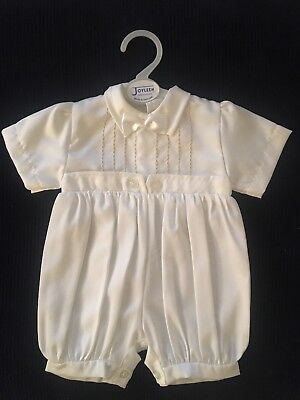 Baby Boys White Christening/baptism Romper/outfit/suit. Made In England.